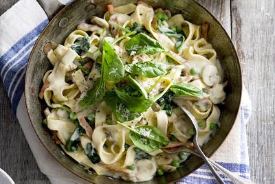 Veggie-packed carbonara with mushrooms and fresh spinach