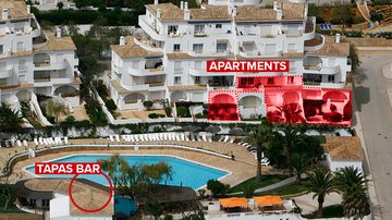 Aerial view of Ocean Club Resort, where Madeleine McCann's family and friends stayed.