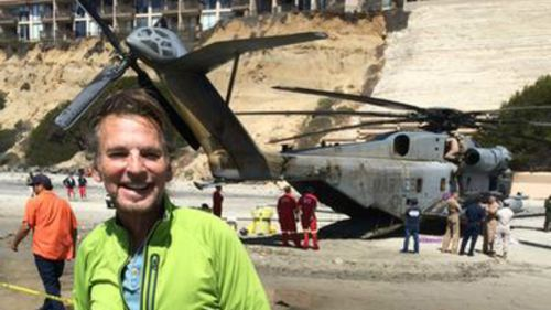 Fly-way to the danger zone: US Marine chopper draws star attention after making emergency landing on California beach