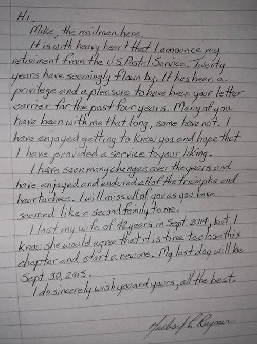 Humble US postie writes touching farewell letter to residents