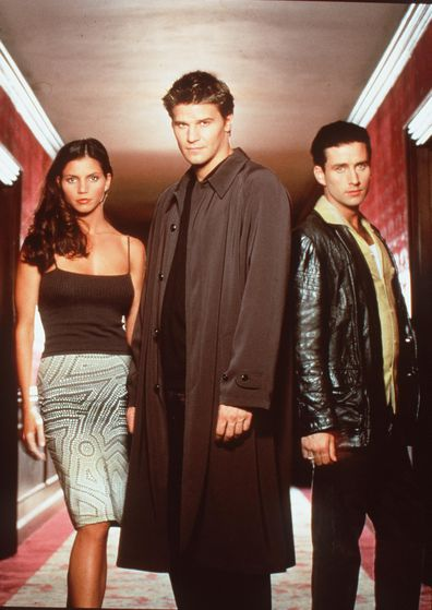 Charisma Carpenter, David Boreanaz, And Glenn Quinn Star In The TV Show Angel.