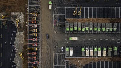 Construction machinery sits at the site of a new hospital