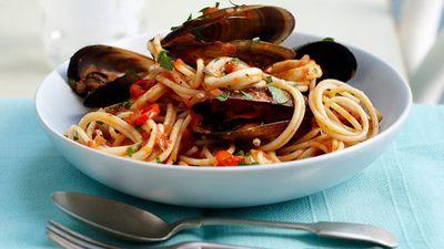 """Recipe:<a href=""""http://kitchen.nine.com.au/2016/05/16/14/35/mussel-and-calamari-pasta"""" target=""""_top"""">Mussel and calamari pasta</a>"""