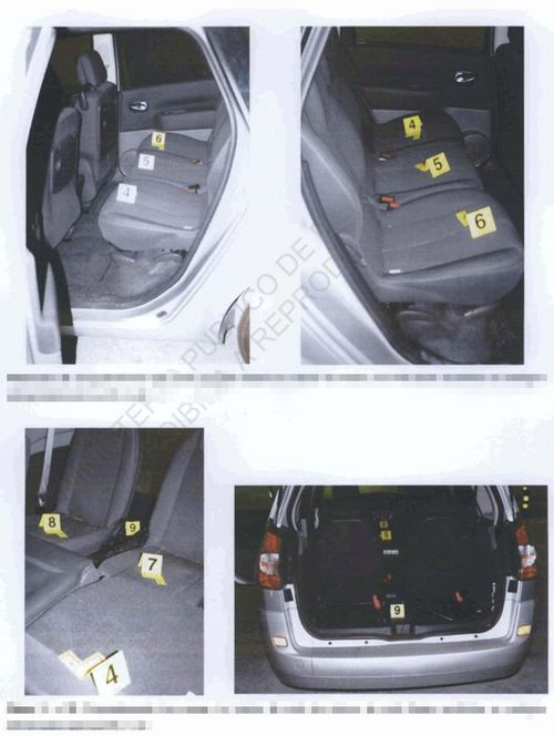 Police photographs of McCann rental car where forensic and DNA samples were taken from.