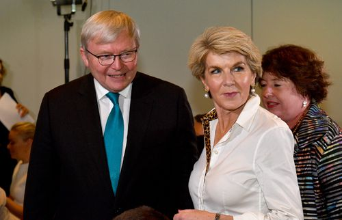 "Yesterday, she was with former Labor PM Kevin Rudd at the launch of his book ""The PM Years"" at Parliament House yesterday."