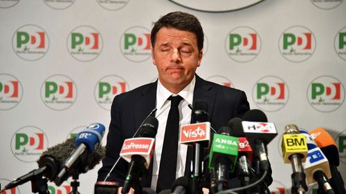 Democratic Party (PD) leader Matteo Renzi announces his resignation after the party's poor result. (AP).