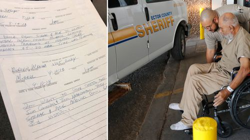 Richland County Sheriff Leon Lott's handwritten notes from the 1978 killing of Evelyn Weston with Samuel Little being helped from a wheelchair.