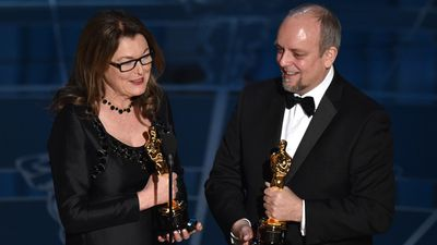 <b>Best Makeup and Hairstyling:</b><br><br>Frances Hannon and Mark Coulier accept their Oscar for their work on 'The Grand Budapest Hotel'. (AAP)