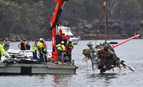 The plane was completely destroyed after it smashed into the water. (AAP)
