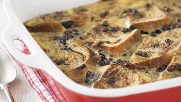 Chocolate sultana bread and butter pudding