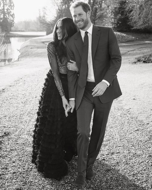 Meghan's black and sequin engagement gown designed by Ralph and Russo.