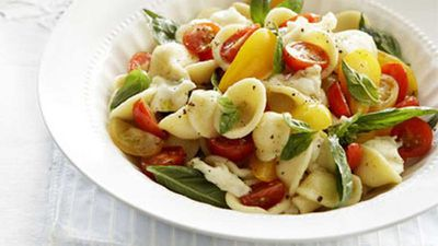 "Click through for our<a href=""http://kitchen.nine.com.au/2016/05/17/14/26/fresh-tomato-mozzarella-and-basil-orecchiette"" target=""_top""> fresh tomato, mozzarella and basil orecchiette</a> recipe"