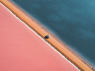 Great lakes and rivers, some of which turn pink