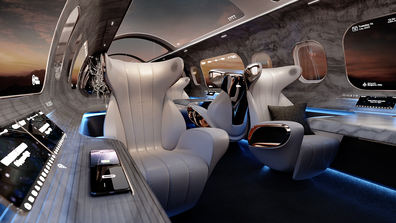 The Maverick Project is a futuristic cabin design from Rosen Aviation, incorporating virtual windows to create the airplane cabin of the future.