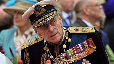 Prince Philip watching the proceedings from the royal barge during the Diamond Jubilee Pageant on the River Thames in London on June 3, 2012