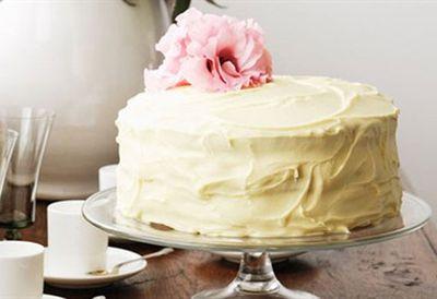 White chocolate and passionfruit celebration cake