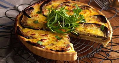 "Recipe: <a href=""http://kitchen.nine.com.au/2016/05/16/14/15/savoury-eggplant-and-haloumi-quiche"" target=""_top"">Savoury eggplant and haloumi quiche</a>"