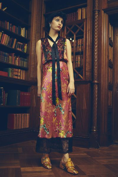 "<p>History buff</p> <p><a href=""http://www.romancewasborn.com/e-boutique/tenderly-brocade-silk-dress"" target=""_blank"">Romance Was Born</a> Tenderly brocade silk dress, $799<br /> </p>"
