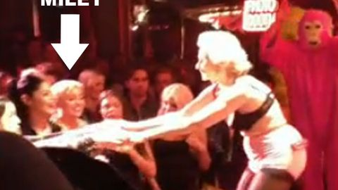 Watch: Miley Cyrus front row for 82-year-old stripper