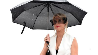 <p>The Melbourne weather has really turned on for Oaks Day. Here a racegoer stands under an umbrella at Flemington Racecourse. (AAP)</p>