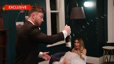 Exclusive: Jason 'stuffs up' the champagne bottle popping on his wedding night with Alana