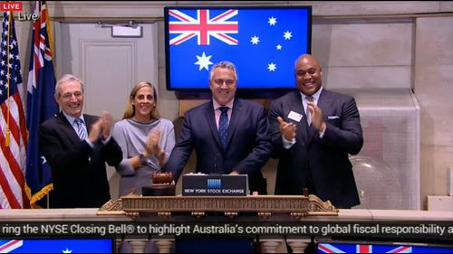 Joe Hockey rings the bell at the New York stock exchange. (Supplied)