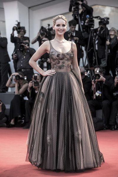 Jennifer Lawrence in Christian Dior haute coutureat the Venice Film Festival, 2017.