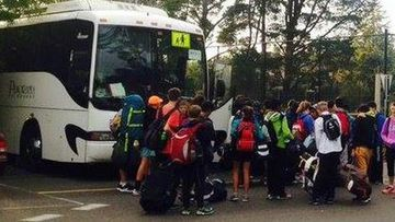 Students prepare to leave for school camp at Plumbago Station. (Photo: Facebook)