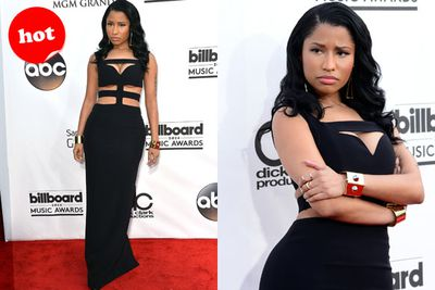 Aside from the squashed boob situation, this is a much better red carpet look for controversial Nicki Minaj.