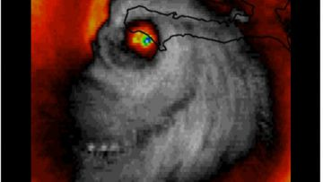 A creepy 'face' has been spotted in a satellite image of Hurricane Matthew. (Twitter)