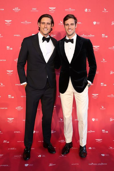 "<p>Zac and Jordan Stenmark in P Johnson&nbsp;from <a href=""https://www.mrporter.com/en-au/"" target=""_blank"">MR PORTER</a> at the 2018 MAAS Centre for Fashion Ball</p>"
