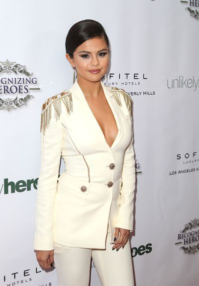Selena Gomez in Versace at the 2014 Annual Unlikely Heroes Awards Dinner and Gala
