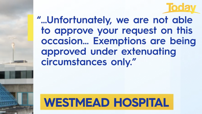 Stephanie Dierich and Ryan Holman received the above email from Westmead Hospital.