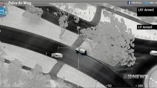 The allegedly stolen car as seen on police helicopter video. (Supplied)