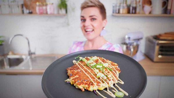 Jane de Graaff makes okonomiyaki Japanese style vegetable pancakes