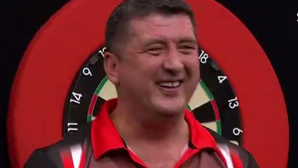 Champions League of Darts underdog Mensur Suljovic overcomes 40:1 odds to upset Gary Anderson