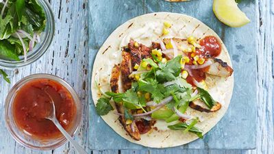 "Recipe: <a href=""http://kitchen.nine.com.au/2016/05/20/10/04/smoky-chargrilled-chicken-tortillas-with-grilled-corn-and-herb-salad"" target=""_top"" draggable=""false"">Smoky chargrilled chicken tortillas with grilled corn and herb salad</a>"
