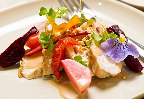 Chicken salad with pickled radishes, rhubarb and orange