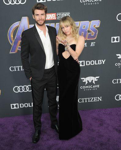Miley Cyrus and Liam Hemsworth, Avengers: Endgame premiere, LA April 22, 2019