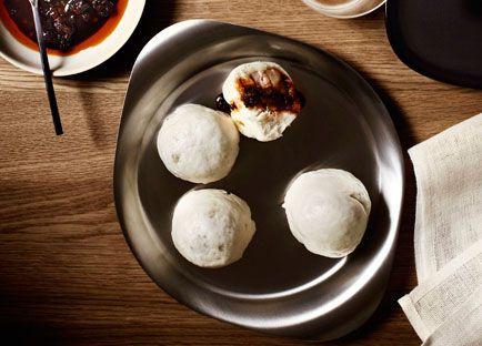 Steamed pork dumplings with Shanghai chilli vinegar