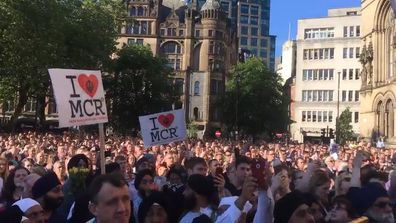 9RAW: Mourners gather for vigil in Manchester