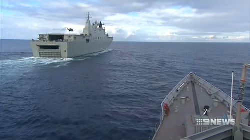 The ships show Australia's resolve to maintain its presence in the region. Picture: 9NEWS