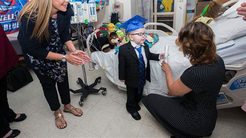 Lucas' teachers threw an impromptu ceremony at the hospital where the 5-year-old was recovering. (Katherine C. Cohen/Boston Children's Hospital)