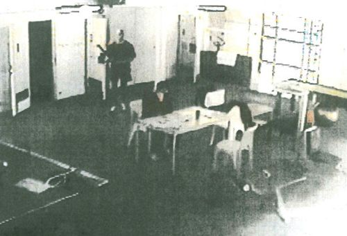 A CCTV image of the prison moments before Williams was killed by Mathew Johnson. (AAP)