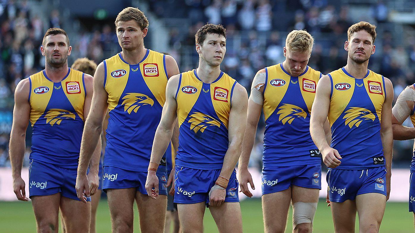 West Coast coach Adam Simpson unleashes on players after 97-point loss to Geelong
