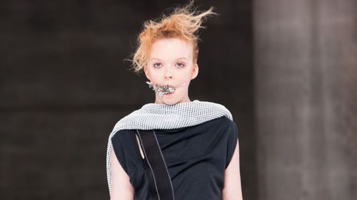 Sydney designer Toni Maticevski sent models down his runway wearing gags. (Supplied: Couturing)