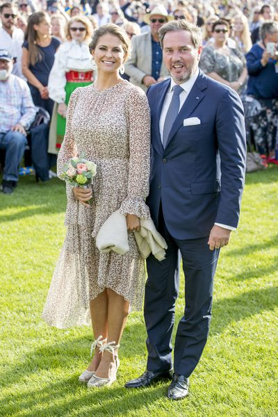 Princess Madeleine of Sweden and her husband Chris O'neill at the Victoria Day celebration in Borgholm, Sweden, July, 2017