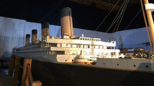 Cameron's model of the Titanic as it was when it set off for its maiden voyage. (60 Minutes)