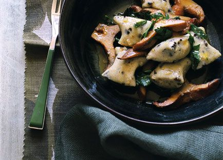 Olive gnocchi with pine mushrooms