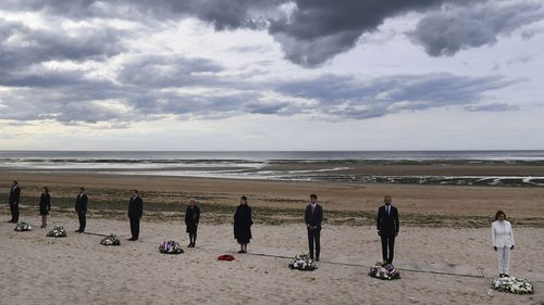 U.S House Speaker Nancy Pelosi, French Prime Minister Edouard Philippe, Canadian Prime Minister Justin Trudeau, Britain's Defence Secretary Penny Mordaunt and Dutch Defence Minister Ank Bijleveld an other officials attend an international ceremony on Juno Beach in Courseulles-sur-Mer, Normandy.